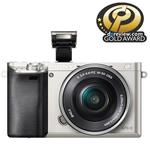 Camera foto digitala compacta SONY Alpha A6000 cu obiectiv interschimbabil 16-50mm, 24.3Mp, 3 inch, argintiu