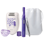 Set epilator PHILIPS Satinelle HP6543/00, retea, alb-mov