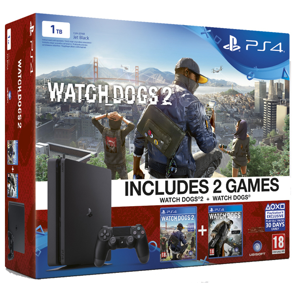 Consola Sony Playstation 4 SLIM, 1TB, negru + Doua Jocuri Watch Dogs 2/ Watch Dogs