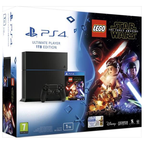 Consola Sony PlayStation 4, 1TB, negru + Joc Lego Star Wars The Force Awakens